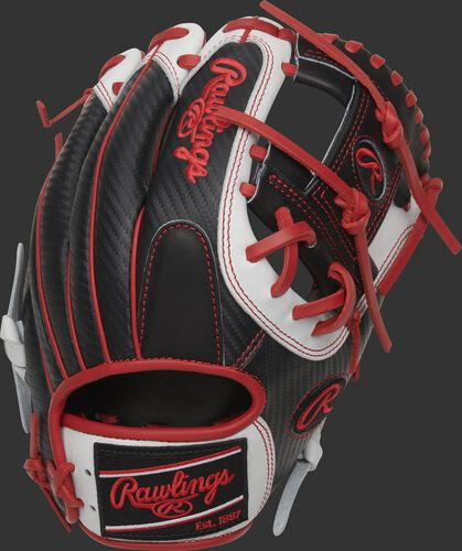 Black Hyper Shell back of a HOH Hyper Shell I-web glove with a black/scarlet Rawlings patch - SKU: PRO204-2BSCF
