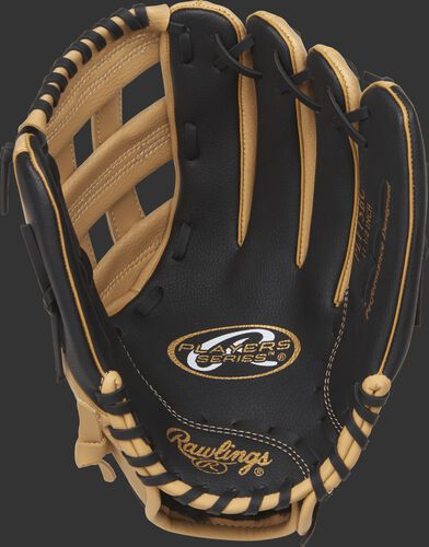 PL115BC Rawlings 11.5-inch youth baseball glove with a black palm and black laces