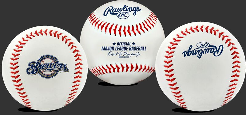 3 views of a MLB Milwaukee Brewers baseball