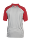 Back of a gray ColorSync polo with scarlet sleeves and red Rawlings patch on the back neckline - SKU: CSP-BG/S image number null