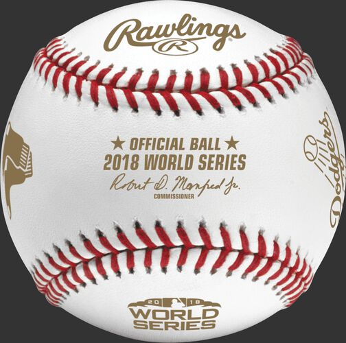 An official WSBB18DL 2018 World Series dueling baseball with the league commissioner's signature