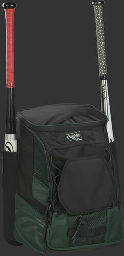 Front right of a dark green/black R600 Rawlings players bag with two bats and Oval R printed on the bottom panel