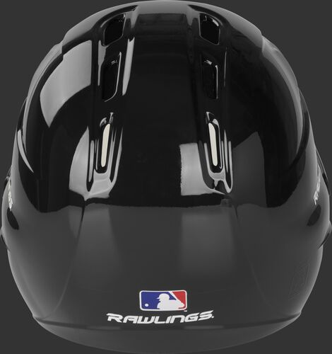 Back of a gloss black R1601 Velo batting helmet with the Official MLB logo sticker