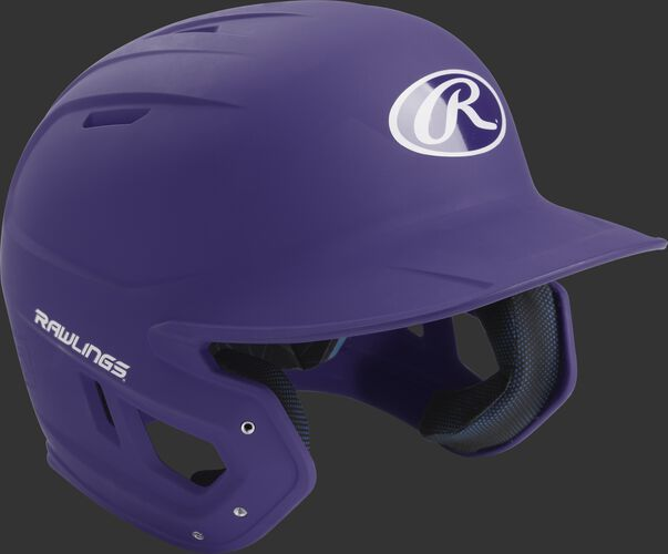 Right angle view of a matte MACH batting helmet with a purple shell