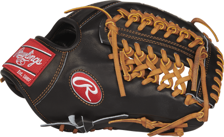 Thumb view of a PROS205-4CBT 11.75-inch Pro Preferred infield/pitcher's glove with a black Modified Trap-Eze web