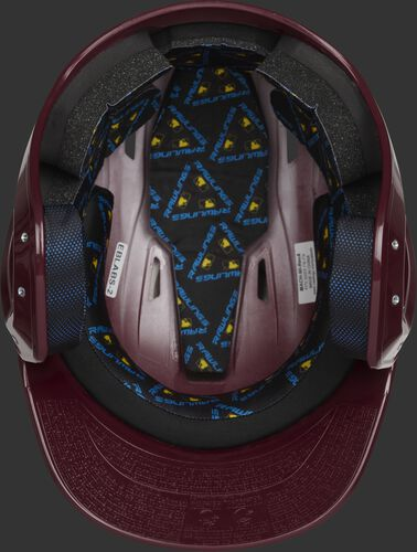 Inside of a maroon MCH01A Mach baseball helmet with black foam padding