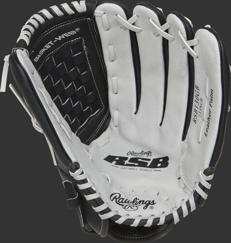 RSB130GB Rawlings softball outfield glove with a grey palm and grey laces