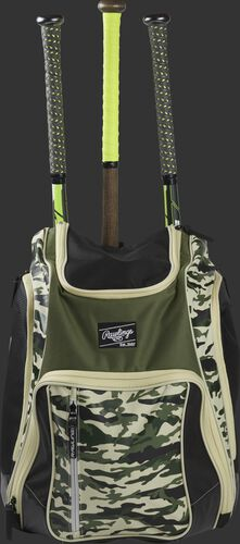 Front view of a camo Rawlings Legion baseball backpack with 3 bats in the back - SKU: LEGION-CAMO