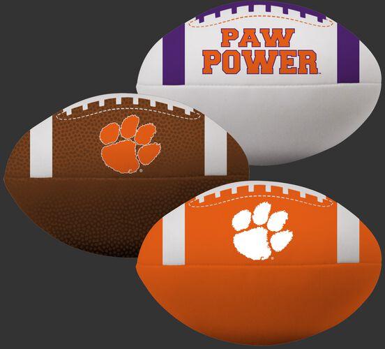 Rawlings NCAA Clemson Tigers 3 Softee Football Set With White, Brown, and Orange Footballs SKU #08623010114