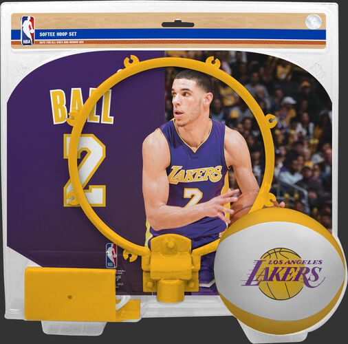 A NBA Los Angeles Lakers Lonzo Ball softee hoop set with a picture of Ball on the backboard - SKU: 03544539511
