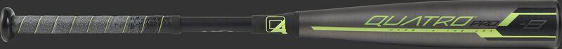 Barrel of a US9Q8 2019 Quatro Pro USA baseball bat with a grey/black barrel and green accents