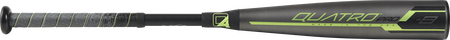 Barrel of a US9Q8 2019 Quatro Pro USA baseball bat with a grey/black barrel and green accents