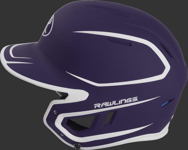 MACH Junior Rawlings batting helmet with a two-tone matte purple/white shell