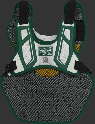 Back harness of a dark green/white CPV2N intermediate Velo 2.0 chest protector with Dynamic Fit System 2.0