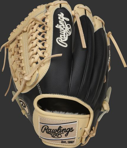 Speed Shell back of a 11.75-Inch Pro Preferred Modified Trap-Eze web glove with a camel Rawlings patch - SKU: PROS205-4CSS-RH
