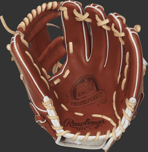 PROS314-2BR 11.5-inch Pro Preferred baseball glove with a bruciato palm and camel laces