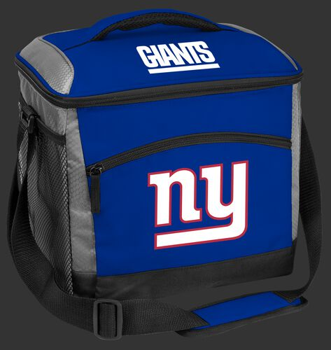 A blue New York Giants 24 can soft sided cooler with screen printed team logos - SKU: 10211078111