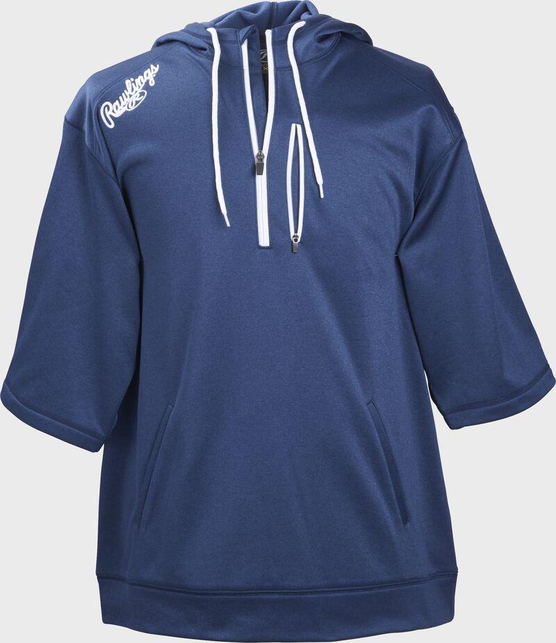 Front of Rawlings Navy Adult Half Sleeve Hoodie with Zipper - SKU #RHTYO-N