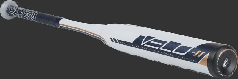 FP9V11 Velo fastpitch -11 bat with a white barrel and black end cap