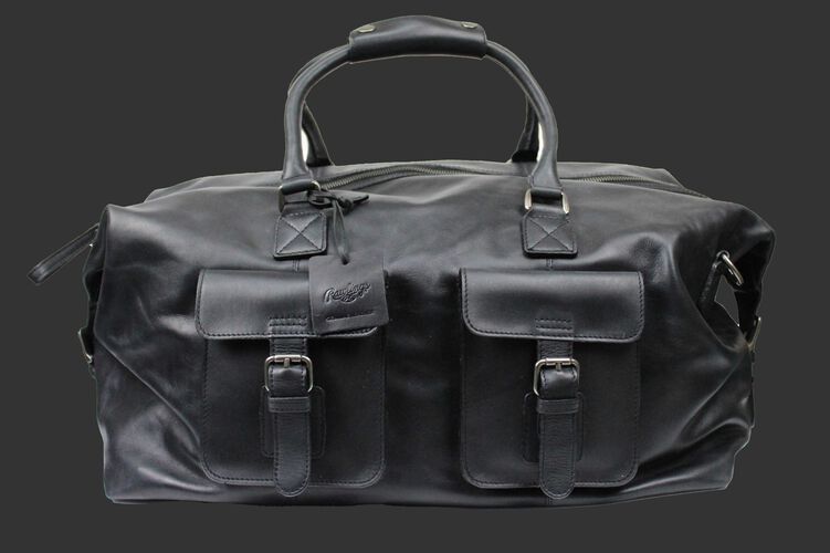 A black Rugged duffle bag with 2 compartments on the front and leather handles - SKU: RS10023-001