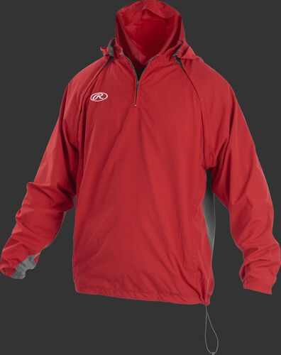 Front of Rawlings Scarlet Adult Long/Short Sleeve Jacket - SKU #TRITHR-DG-91