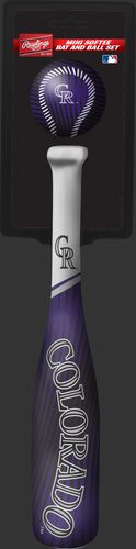 Rawlings Colorado Rockies Softee Mini Bat and Ball Set in Team Colors With Team Name and Logo On Front SKU #01160025114