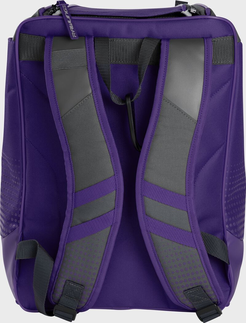 Back of a purple Rawlings Franchise backpack with gray shoulder straps - SKU: FRANBP-PU