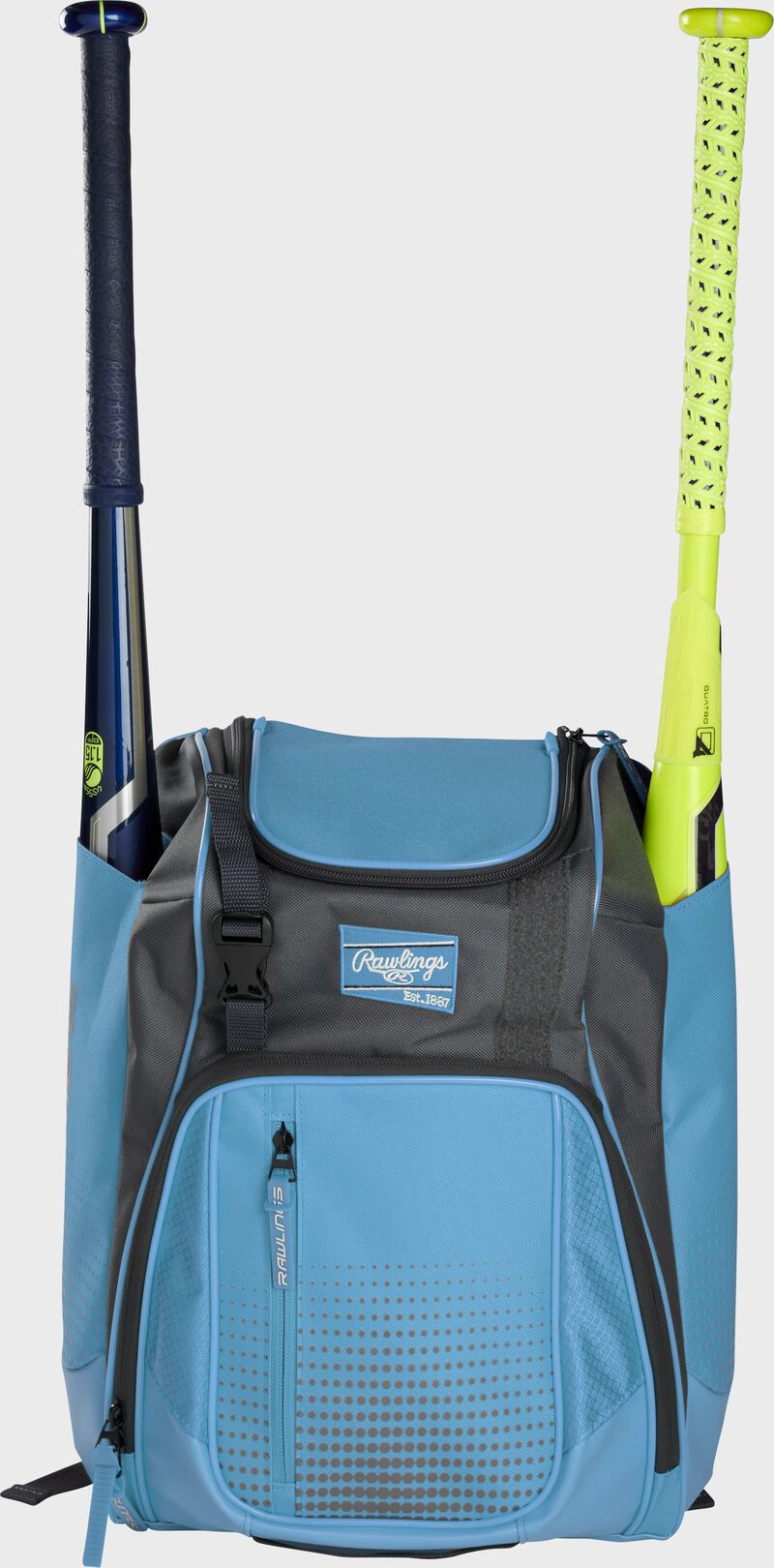 Front of a Columbia blue Rawlings Franchise baseball backpack with two bats in the side sleeves - SKU: FRANBP-CB