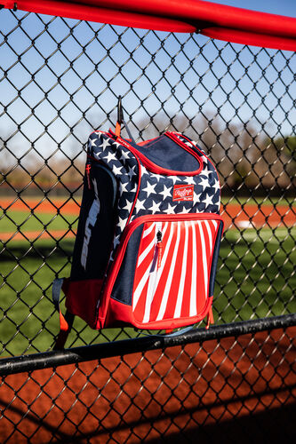 A USA themed Legion backpack hanging on a fence - SKU: LEGION-USA