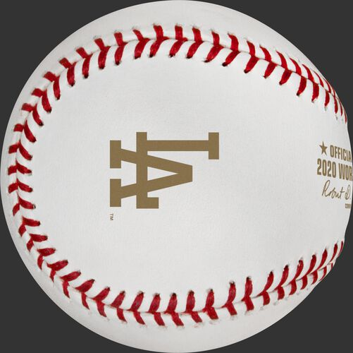 The LA Dodgers logo stamped in gold on a World Series Champions baseball - SKU: EA-WSBB20CHMP-R