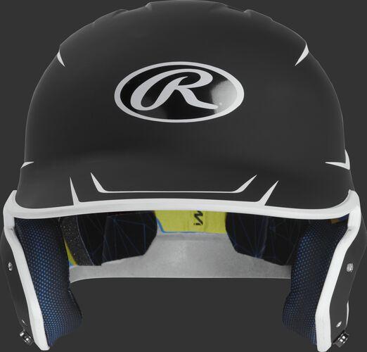 Front of a matte black/white MACH senior size batting helmet
