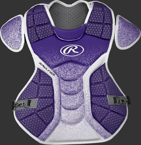 A purple/white CPVEL Velo series adult chest protector
