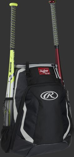 Right side of a black R500 Rawlings baseball backpack with a white bat in the bat sleeve
