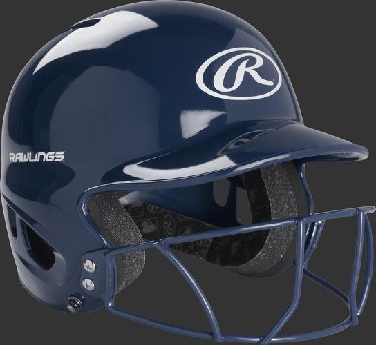 A navy MLB inspired T-ball helmet with a navy facemask - SKU: MODMLTBFG-N
