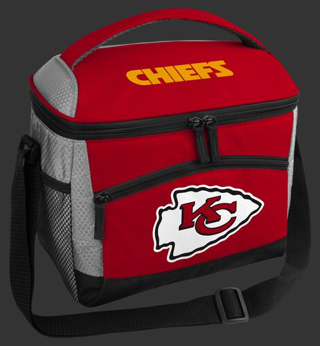 A red Kansas City Chiefs 12 can soft sided cooler with a team logo on the front - SKU: 10111071111