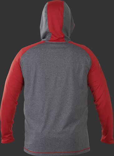 Back of Rawlings Scarlet/Gray Adult Hurler Lightweight Hoodie - SKU #HLWH-GR/B-88