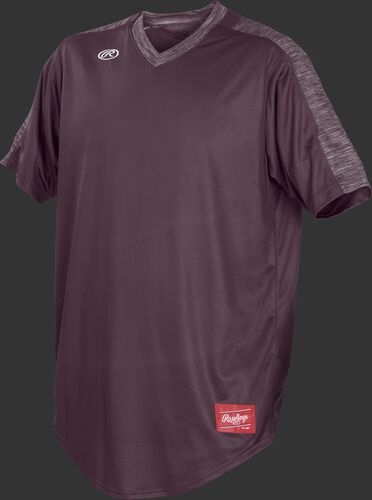 Front of Rawlings Maroon Adult Short Sleeve Launch Jersey  - SKU #LNCHJ-DG-89