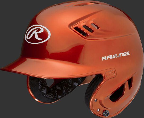 A metallic orange R16S Velo senior batting helmet with Cool-Flo vents