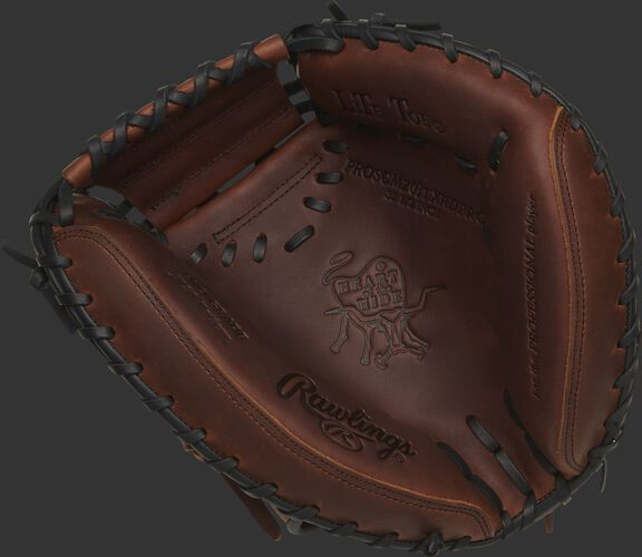 PROSCM20JTXRDP Rawlings HOH catcher's mitt with a timberglaze palm and black laces