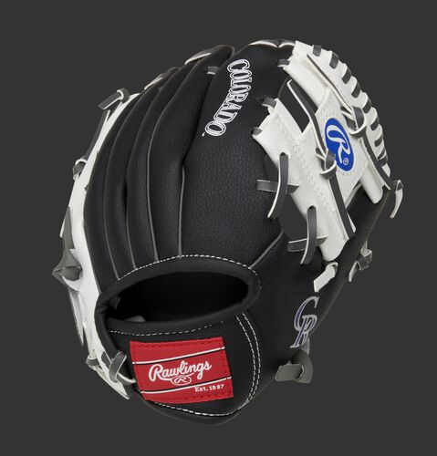 Back of a black/white Colorado Rockies 10-inch I-web glove with a red Rawlings patch - SKU: 22000025111