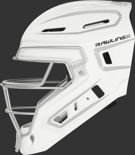 Left side of a white/silver CHV27J Rawlings hockey style Velo 2.0 catcher's helmet