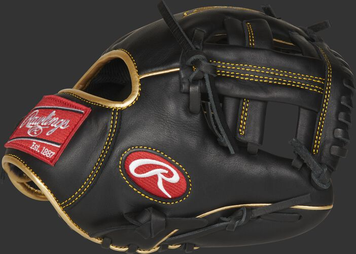Thumb of a black R9 series 9.5-inch infield training glove with a black single post web - SKU: R9TRBG