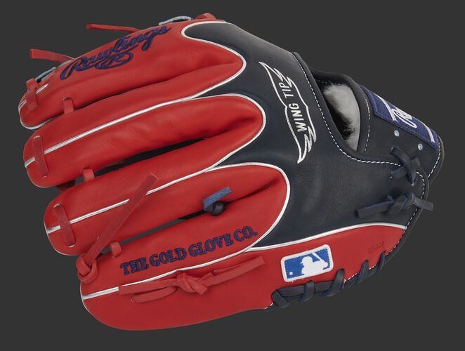 Scarlet back of a Pro Preferred Wing Tip infield glove with the MLB logo on the pinkie - SKU: PROS204W-2NS