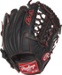 Back view of a R9YPT4-4B 11.5-inch R9 infield/pitcher's glove with a black back and designed with a youth pro taper fit image number null