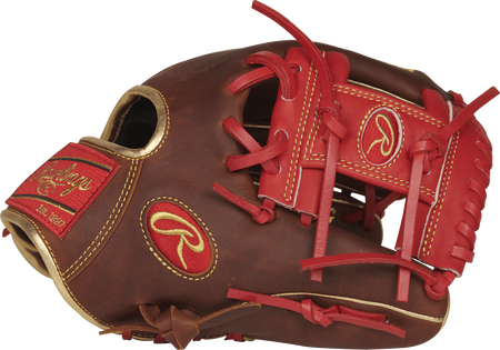 Thumb view of a PRO204-2TIG Heart of the Hide 11.5-inch infield glove with a scarlet I web