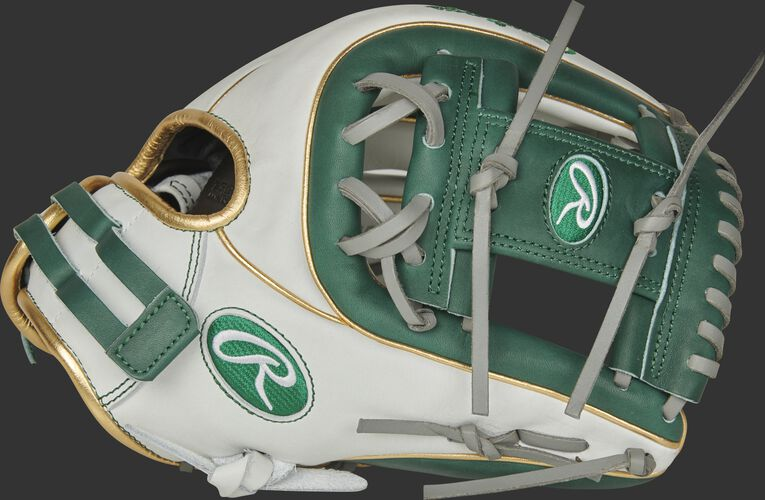 Thumb of a white RLA715SB-2DG Liberty Advanced Color Series 11.75-inch infield glove with a dark green I-web