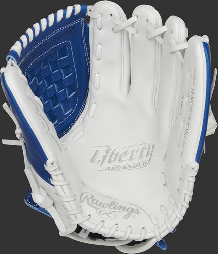 RLA120-3R Rawlings Liberty Advanced Color Series glove with a white palm, royal web and white laces