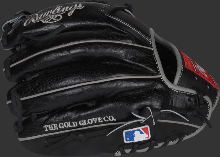 Black croc embossed back of a Gameday 57 Series Dallas Keuchel glove with the MLB logo on the pinky - SKU: RSGPRO206-DK60