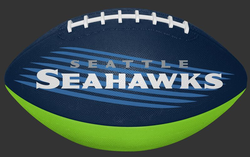 Navy and Bright Green NFL Seattle Seahawks Downfield Youth Football With Team Name SKU #07731085121