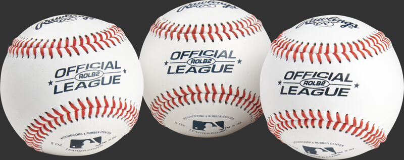 3 Official League practice baseballs with blue stamping and red stitching - SKU: RSGROLB2PK3